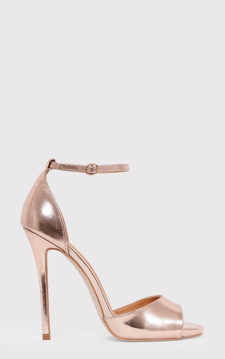 Vanyah Rose Gold PU Ankle Strap Stiletto Heels 1