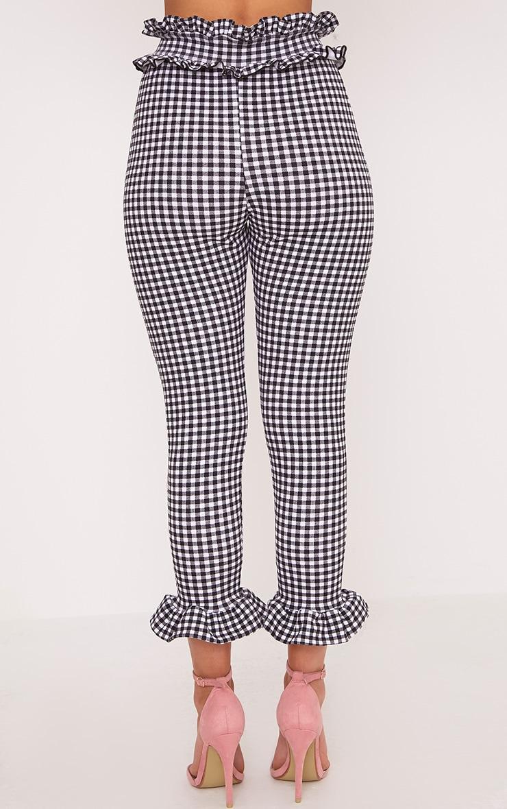 Keren White Gingham Frill Pants 4