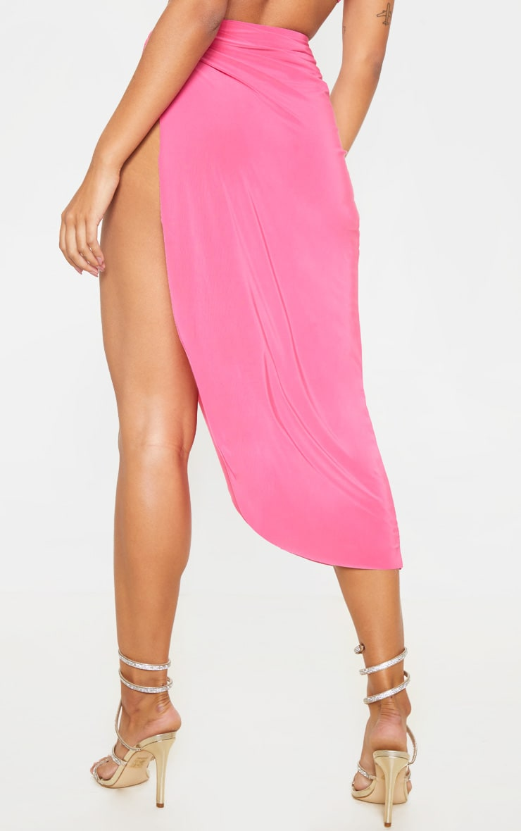 Hot Pink Slinky Knot Detail Curved Hem Midi Skirt 4