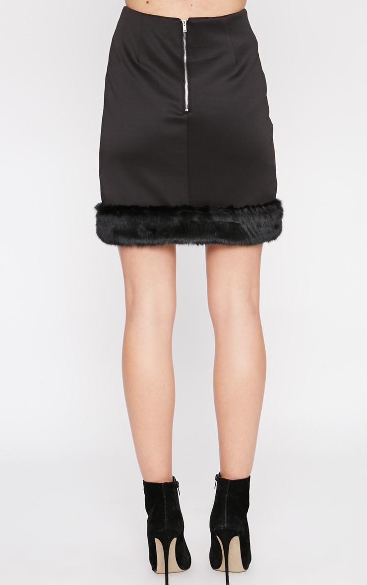 Rosella Black Fur Trim Mini Skirt  4