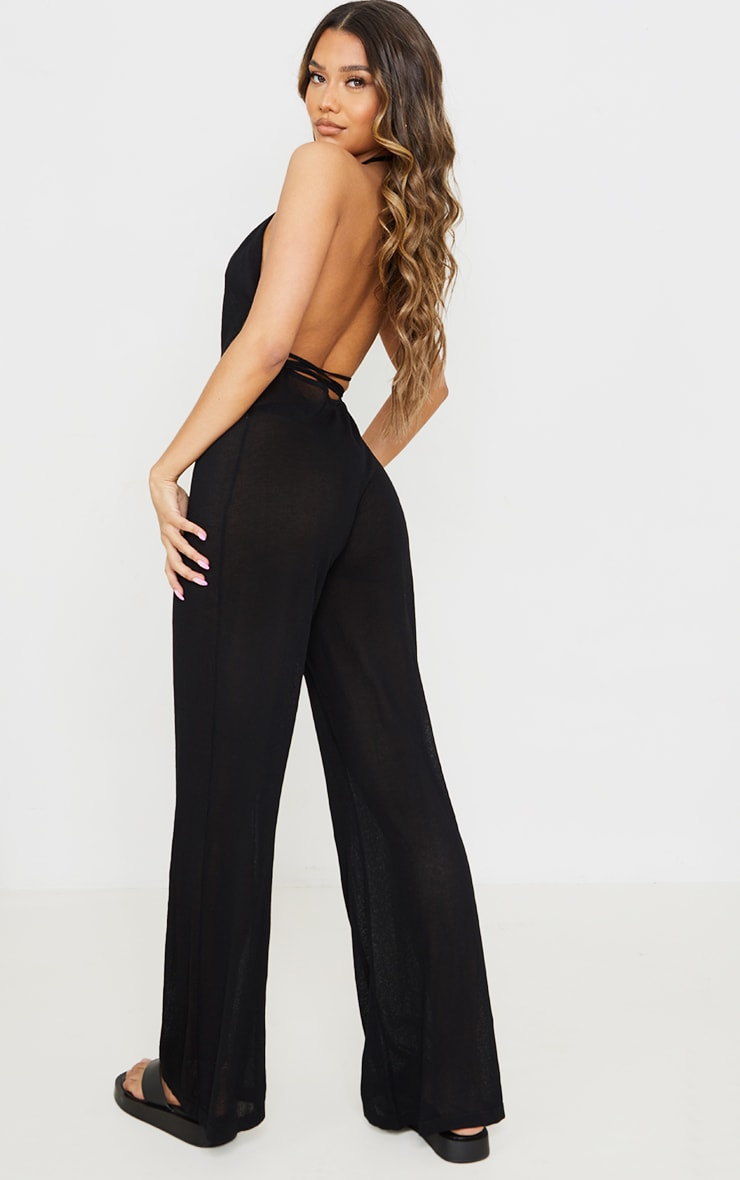 Black  Sheer Knit Halter Neck Tie Waist Jumpsuit 2