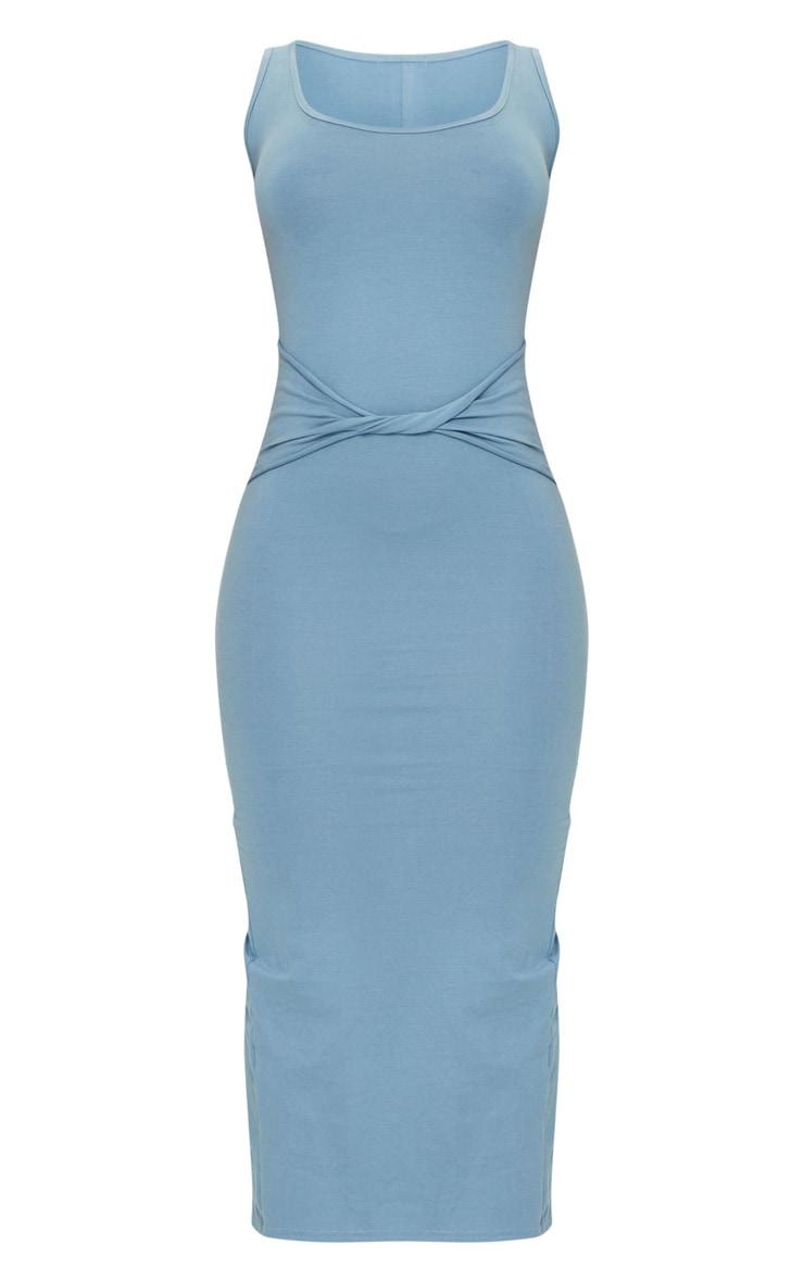 Blue Cotton Sleeveless Twist Waist Midi Dress 5