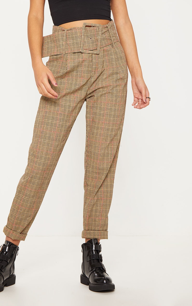 Stone Check Super High Waisted Printed Belted Tapered Trouser 2