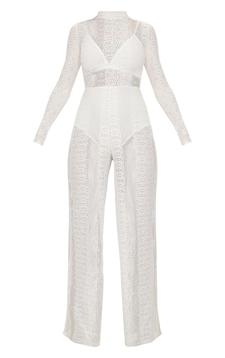 White Lace High Neck Bra Insert Jumpsuit 3