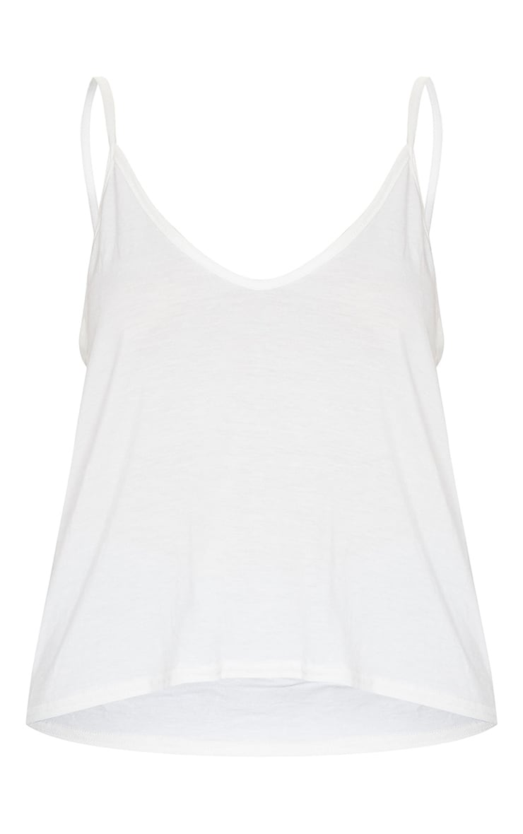 Basic Cream Jersey V Neck Swing Vest 5