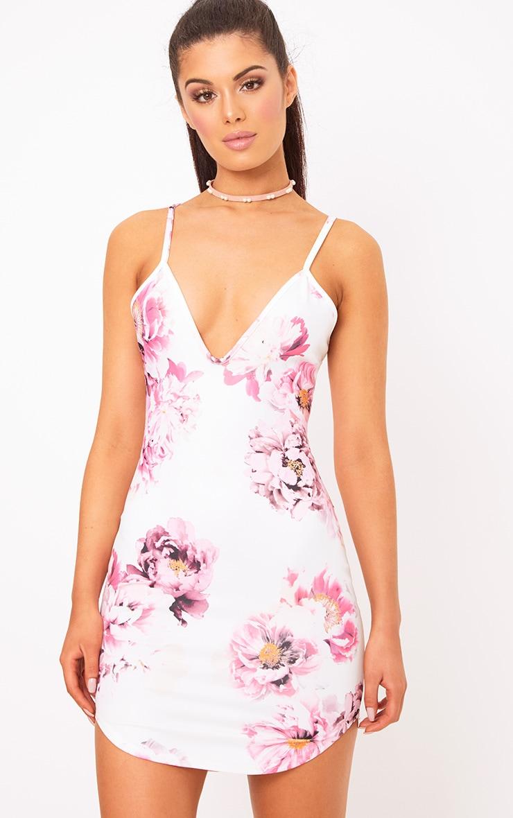 White Strappy Curve Hem Bodycon Dress  1