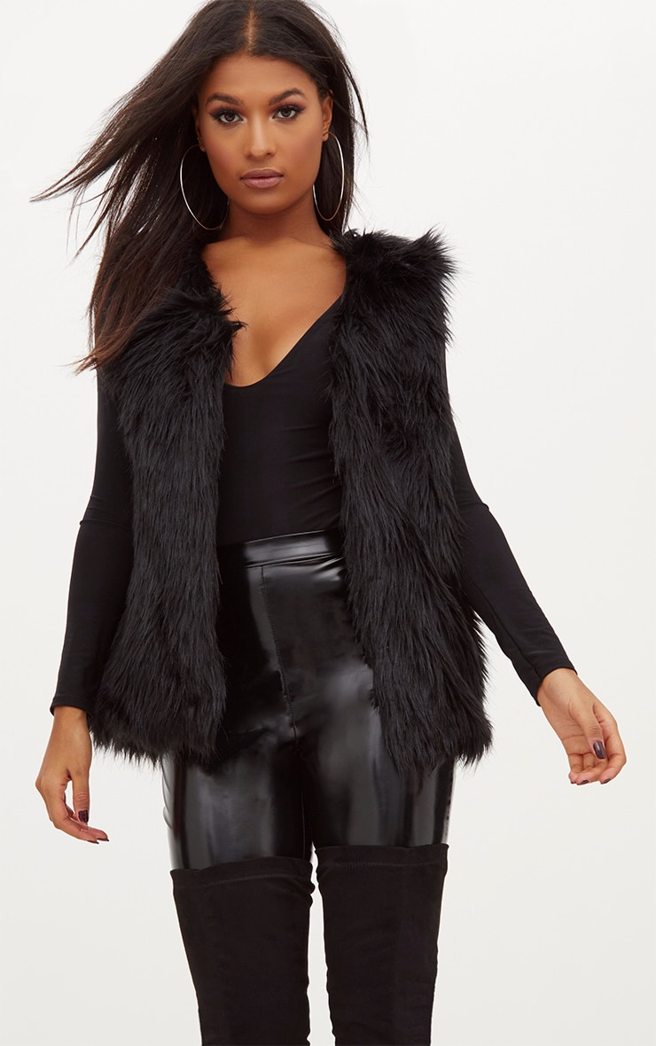 Black Faux Fur Gilet 1