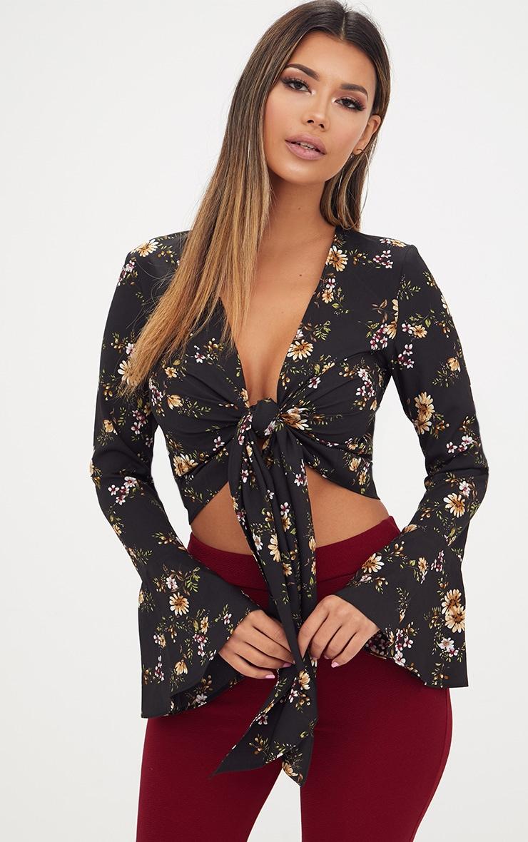 Black Floral Print Flute Sleeve Plunge Tie Blouse 1