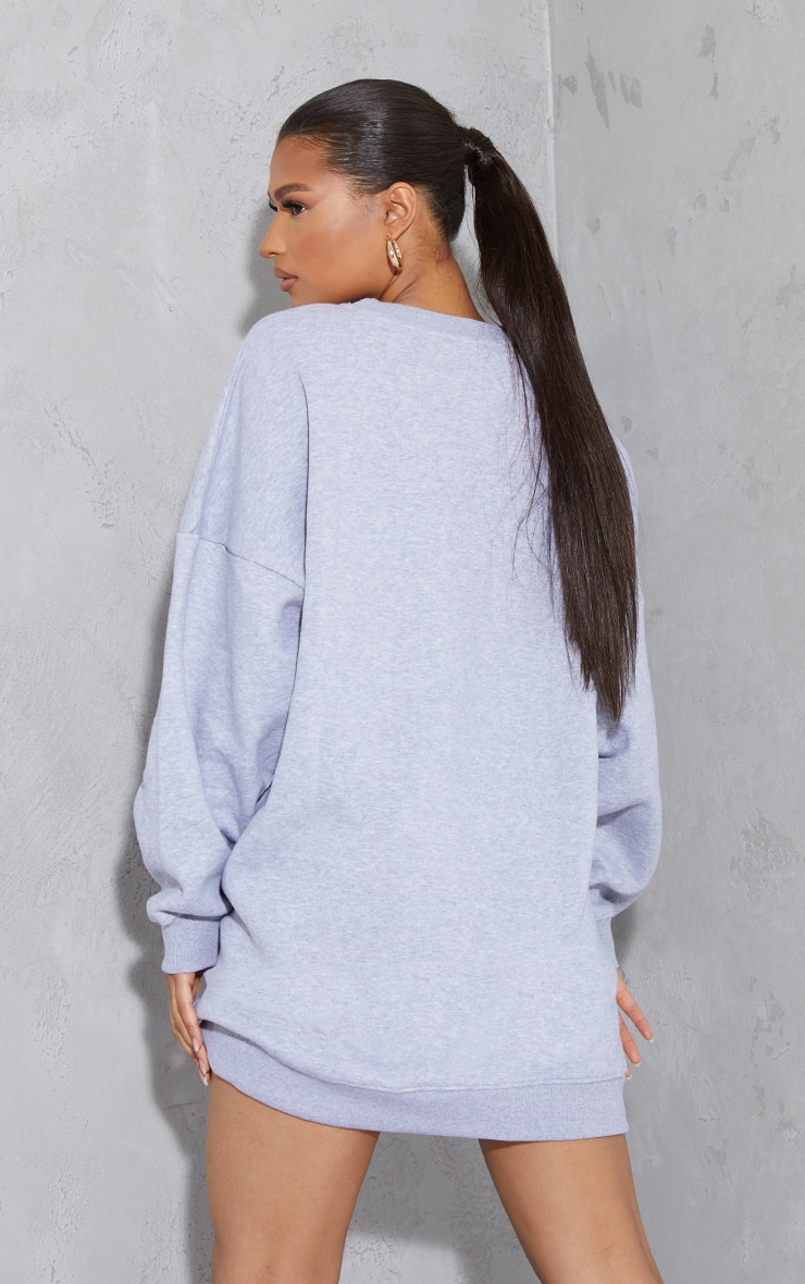 Grey Marl Drop Shoulder Oversized Sweat Jumper Dress 2