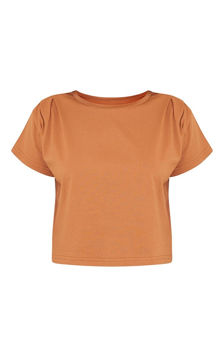 Orange Cropped Washed T Shirt 5