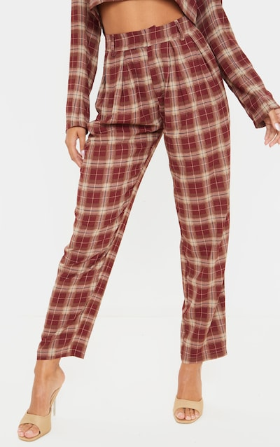 Brown Check Print High Waisted Cigarette Trouser