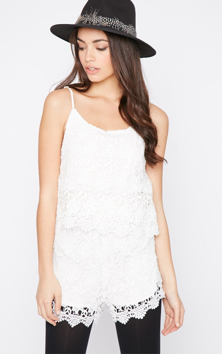 Clarise White Lace Playsuit  1