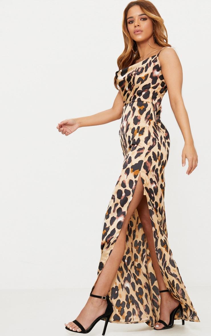 Petite Brown Leopard Print Cowl Maxi Dress 3