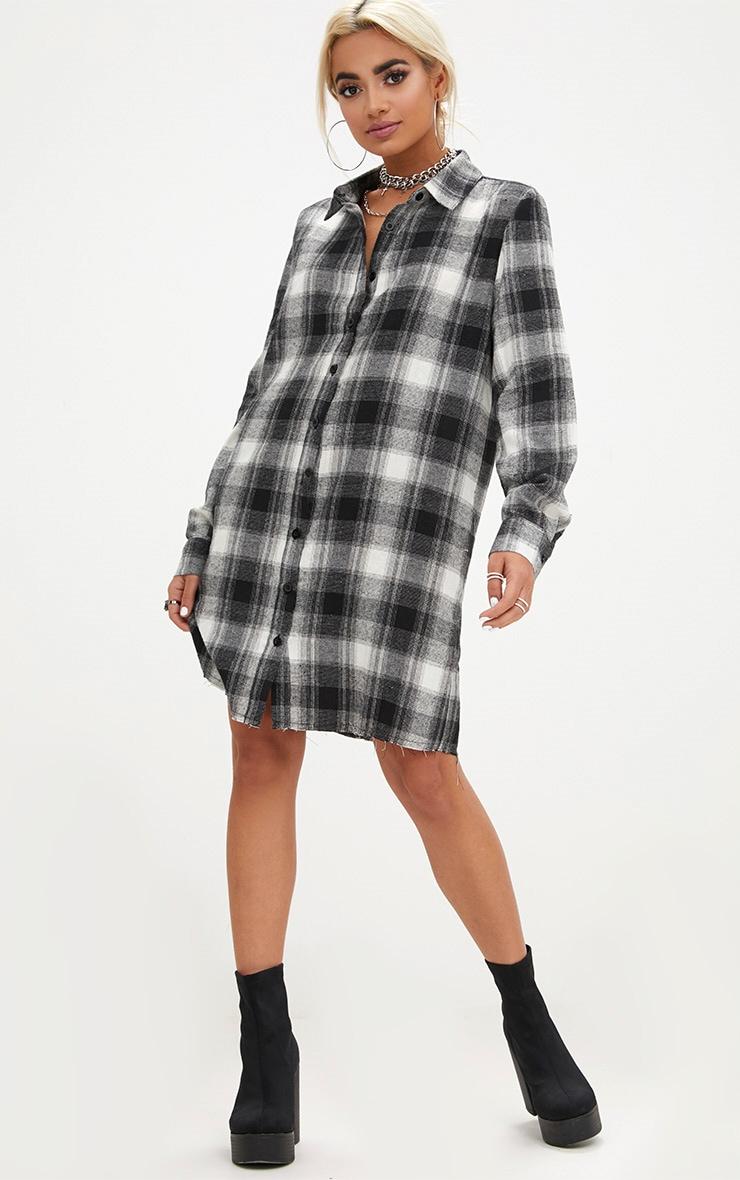 Black Checked  Shirt Dress 4