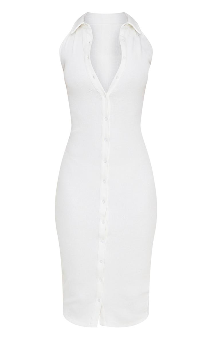 White Rib Button Down Sleeveless Midi Dress 5