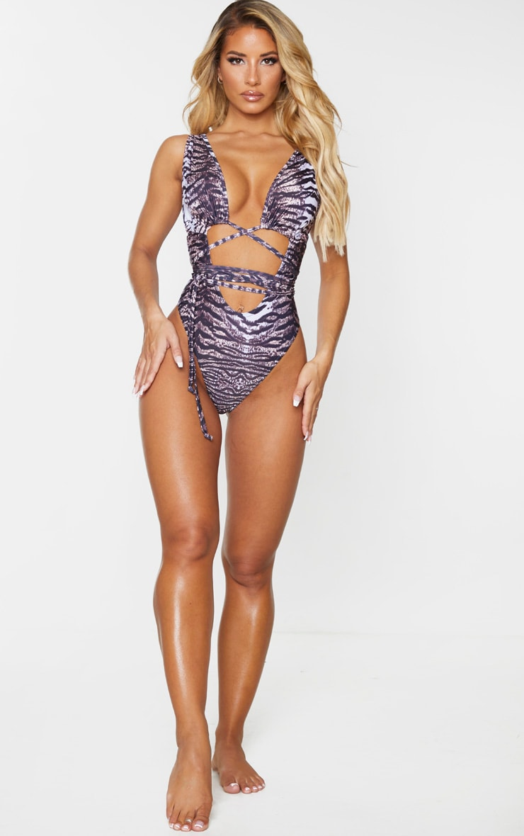 Brown Animal Cut Out Wrap Around Swimsuit 3
