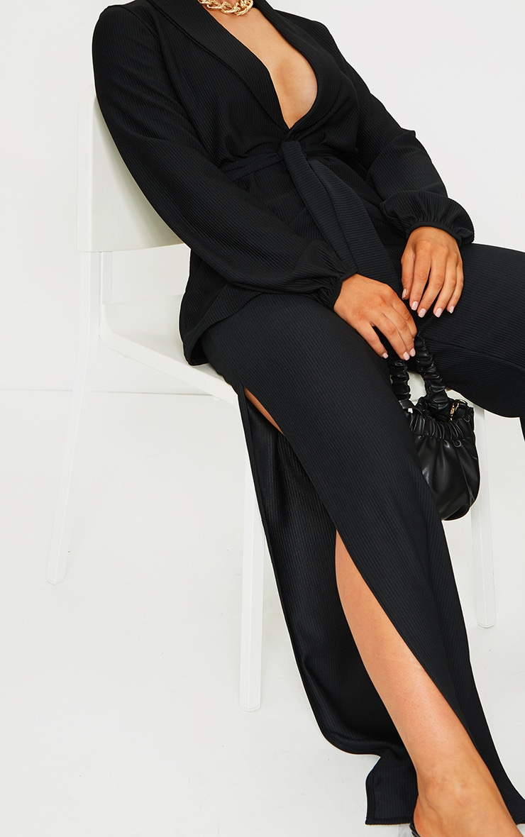 Black Wide Rib Split Side Pants 4