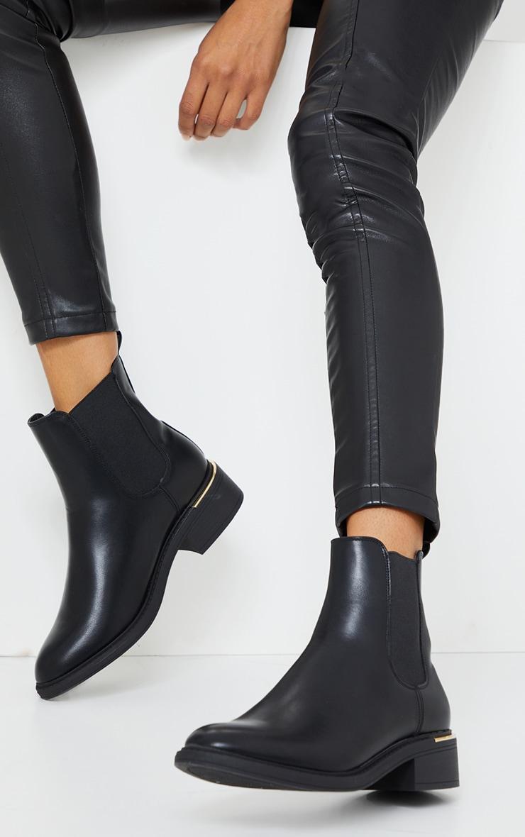Black Basic Gold Trim Chelsea Ankle Boot
