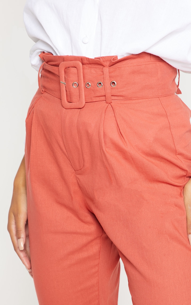 Rust Belted Paperbag Tapered Trouser 5