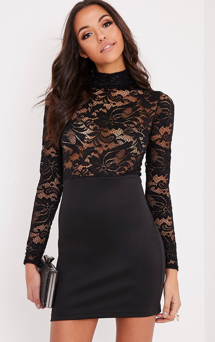 Izzie Black Sheer Lace Top Bodycon Dress 1