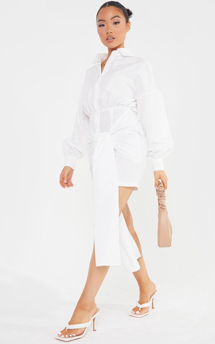 Petite White Extreme Wrap Shirt Dress