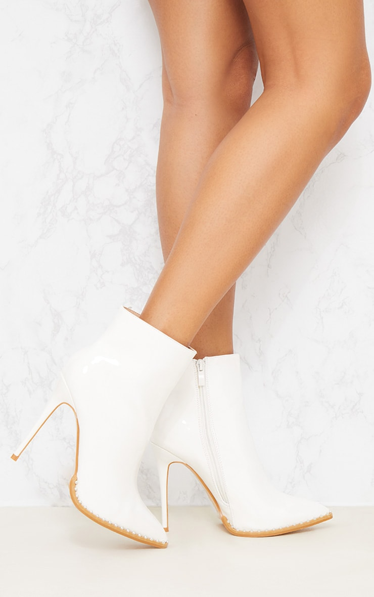 White Pearl Embellished Ankle Boot 2