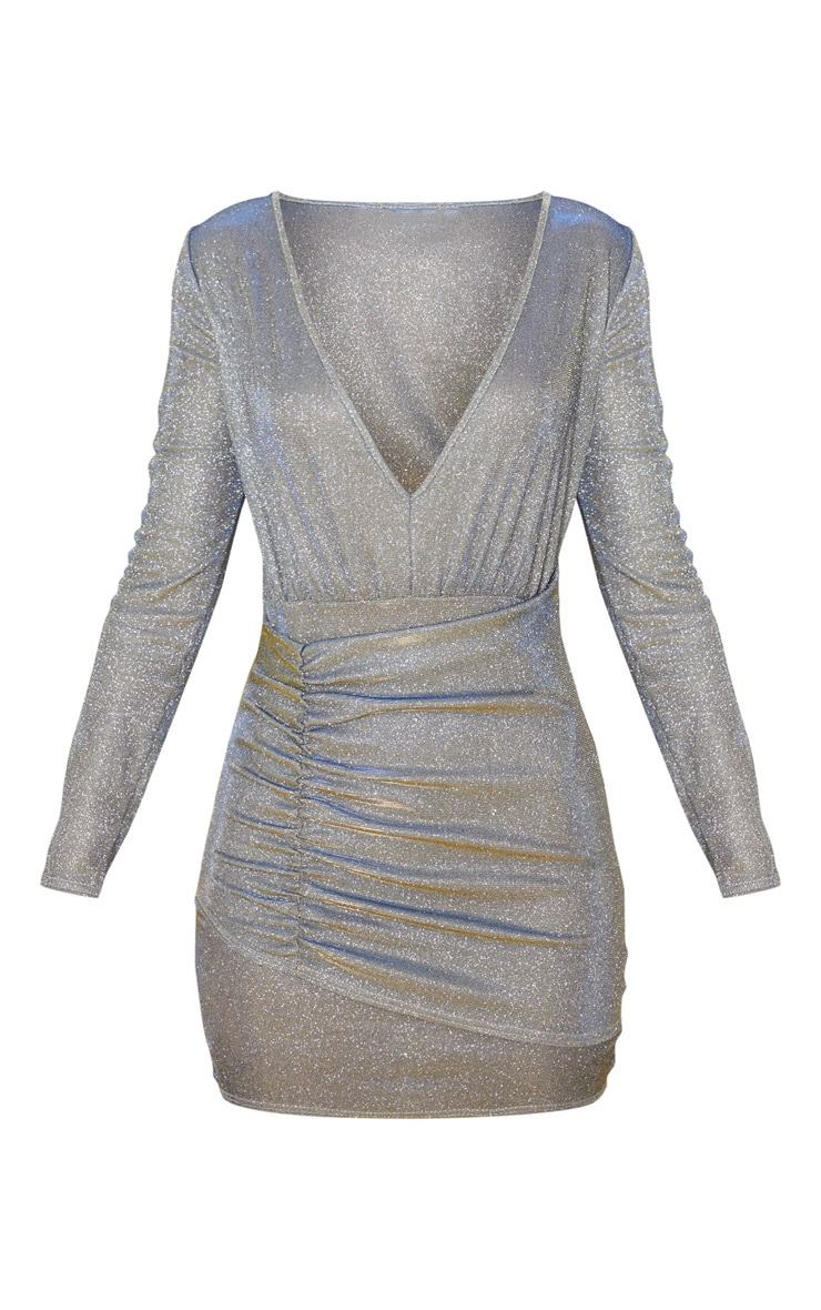 Silver Iridescent Glitter Long Sleeve Ruched Panel Bodycon Dress 3