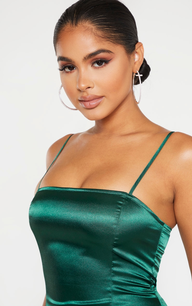 Petite Emerald Green Satin Strappy Straight Neck Bodycon Dress 5