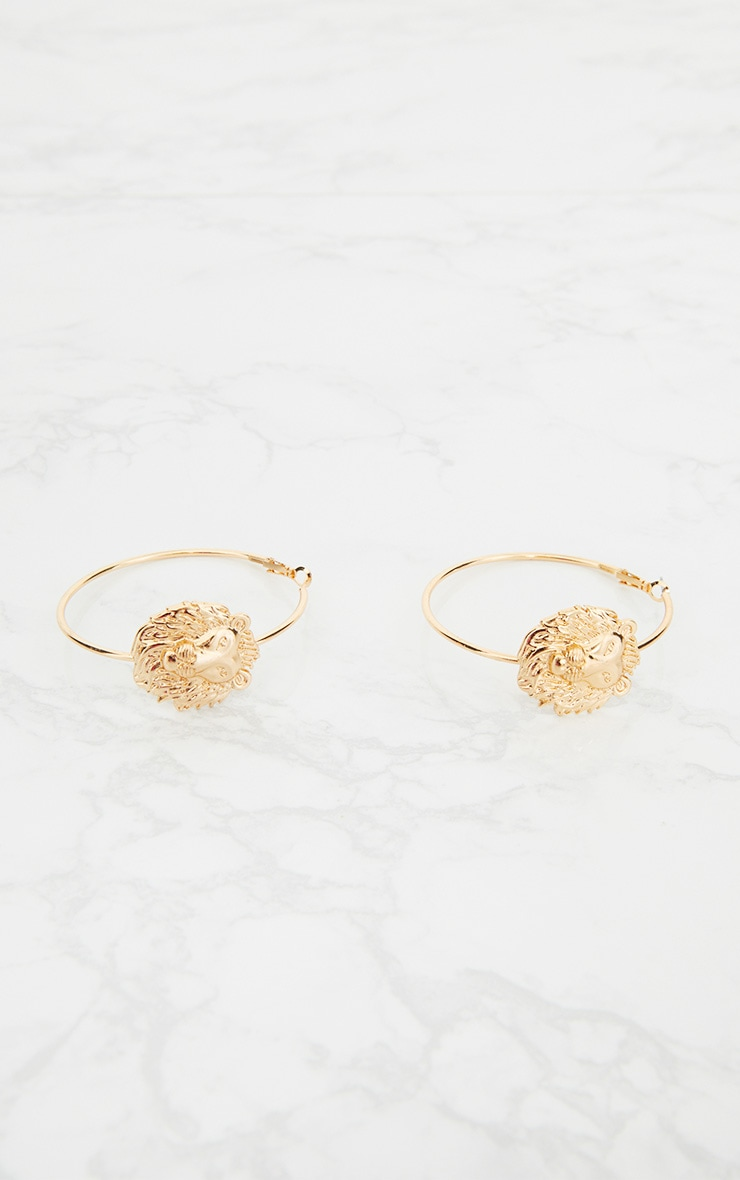 Gold Lion Detail Hoop Earrings  3