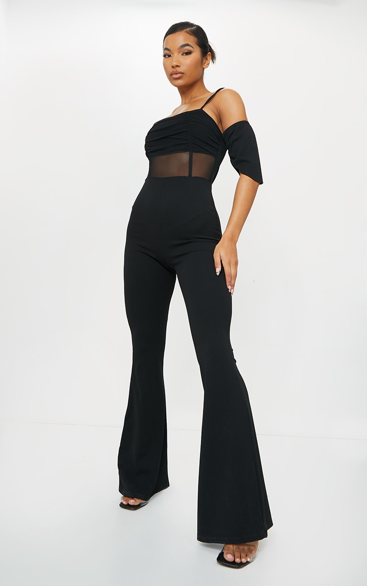 Black Ruched Mesh Binding Detail Off The Shoulder Jumpsuit 3