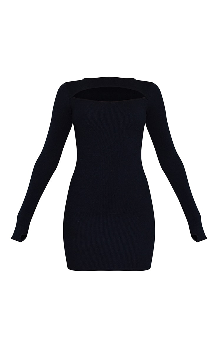 Black Ribbed Long Sleeve Cut Out Thumb Hole Bodycon Dress 5