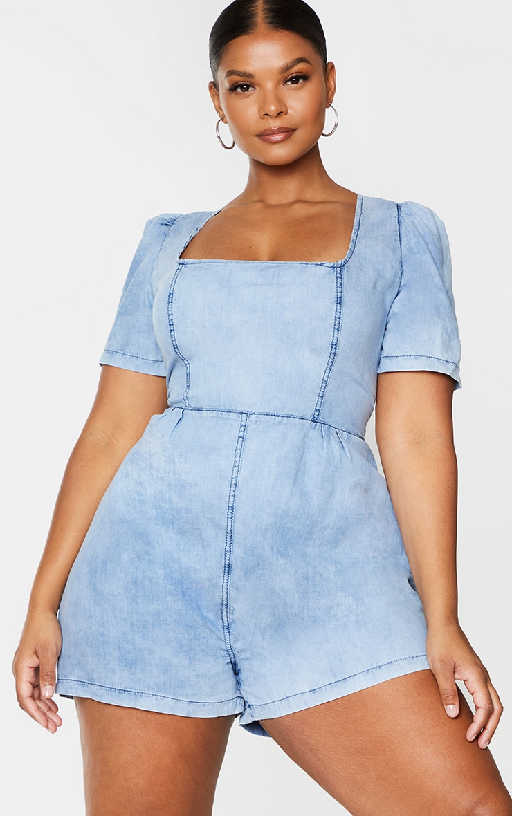 Plus Light Blue Wash Square Neck Denim Playsuit 1