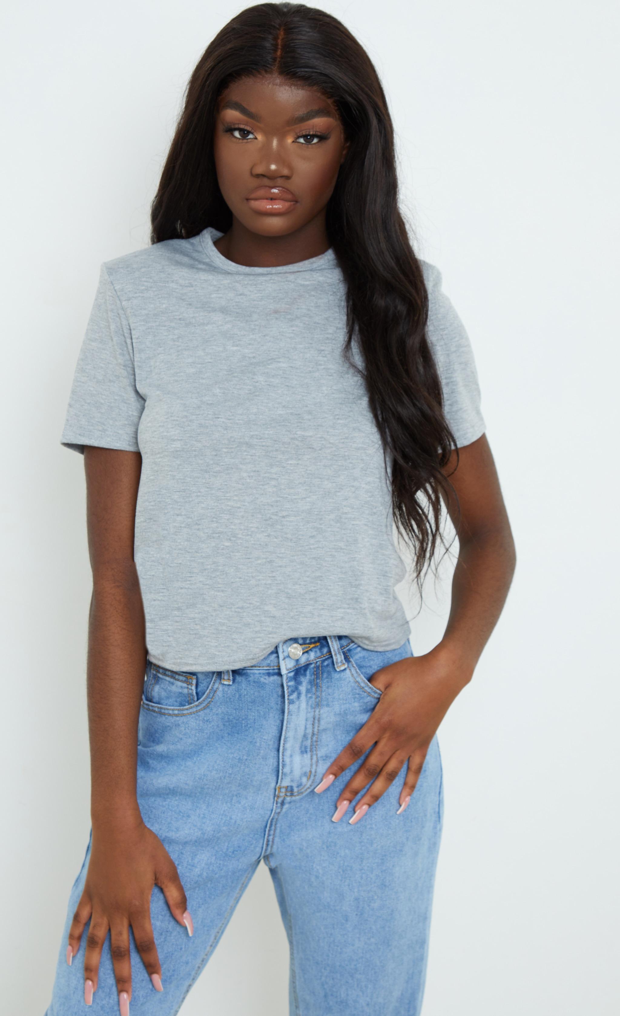 Grey Shoulder Pad T Shirt 1