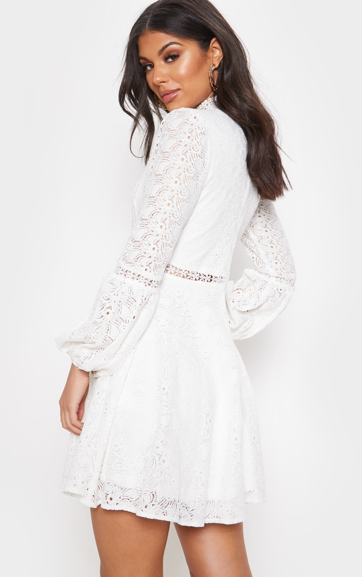 White Lace Long Sleeve Skater Dress 2