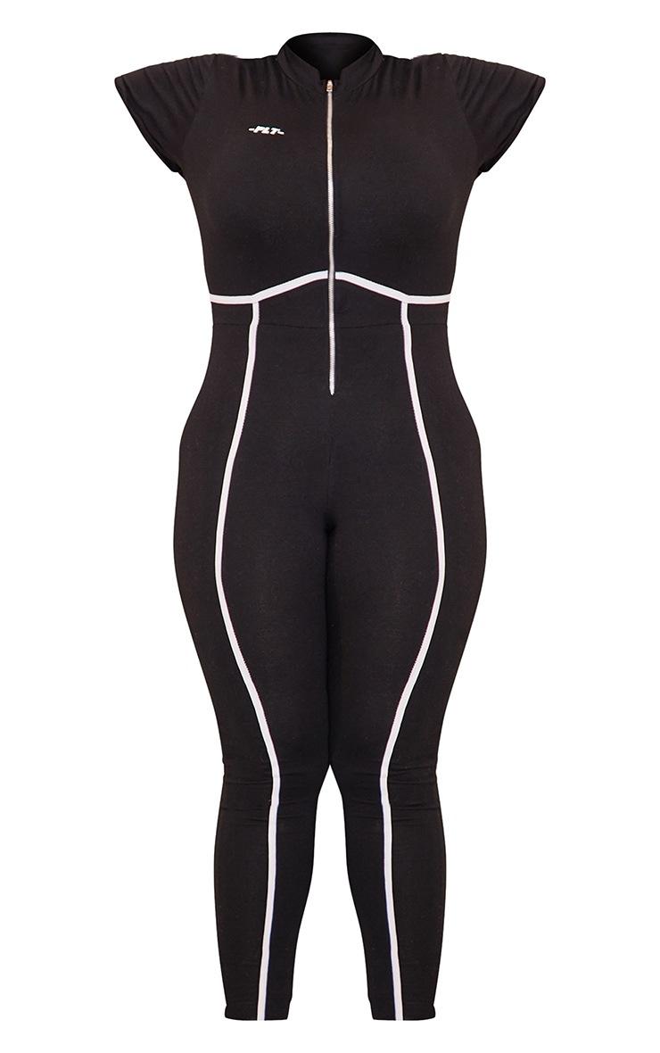 PRETTYLITTLETHING Plus Black Zip Up Binding Detail Jumpsuit 5