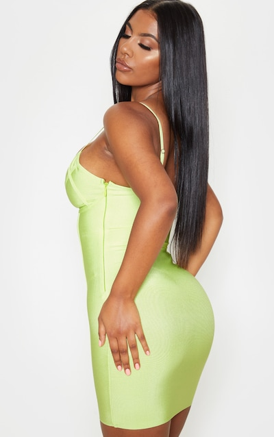 Lime Strappy Cut Out Cup Detail Bandage Bodycon Dress