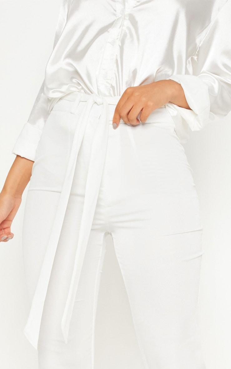 Ivory Satin Tie Waist Slim Leg Trouser 5