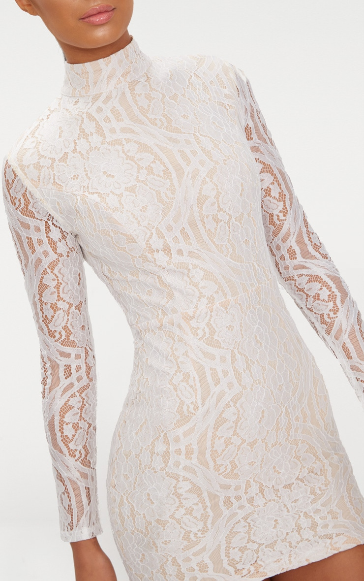 White High Neck Long Sleeve Lace Bodycon Dress 5