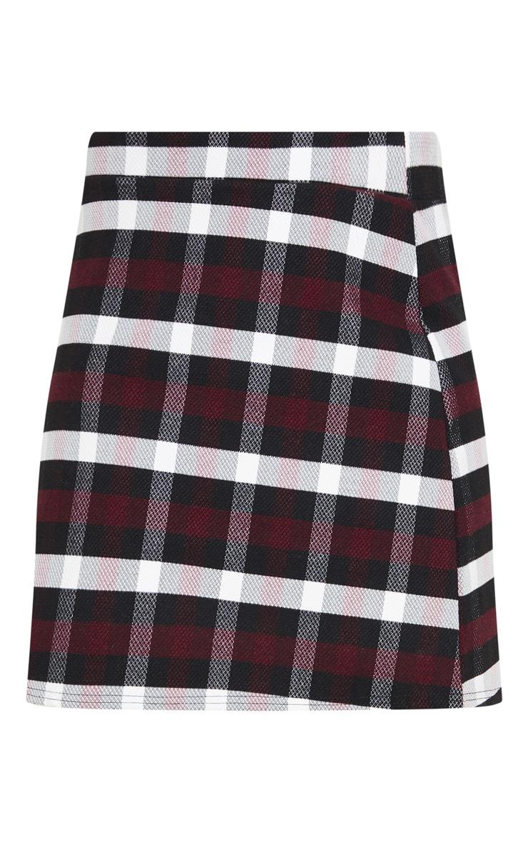Burgundy Check High Waist A Line Mini Skirt 6
