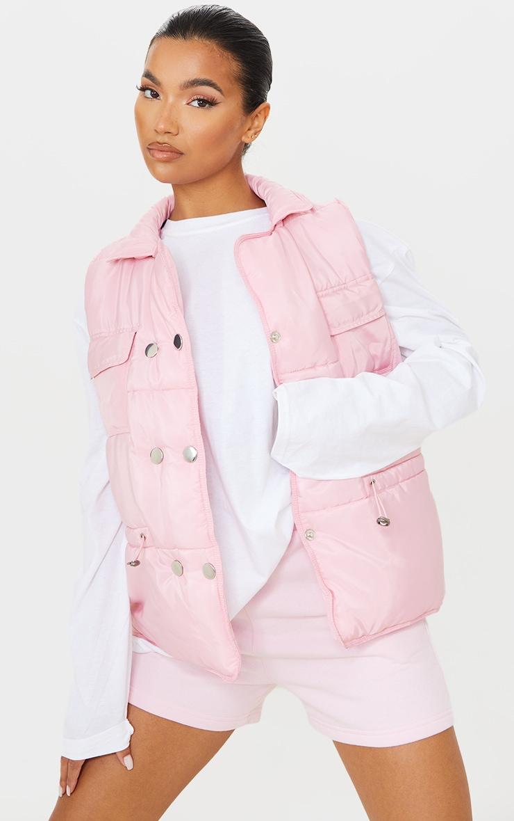 Baby Pink Panel Padded Toggle Waist Gilet 1