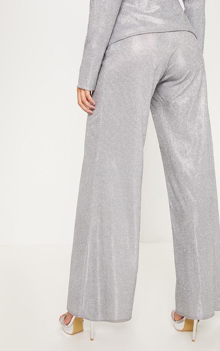Silver High Waisted Wide Leg Pants 4