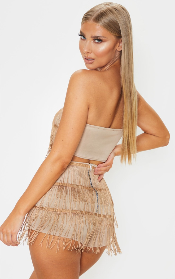 Bronze Tassel Bandeau Crop Top 2