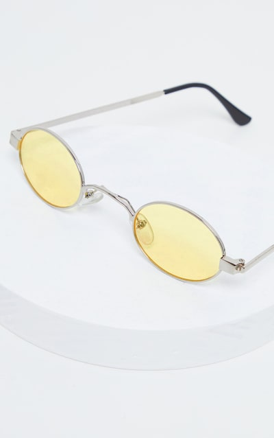 Yellow Small Squashed Round Lens Sunglasses