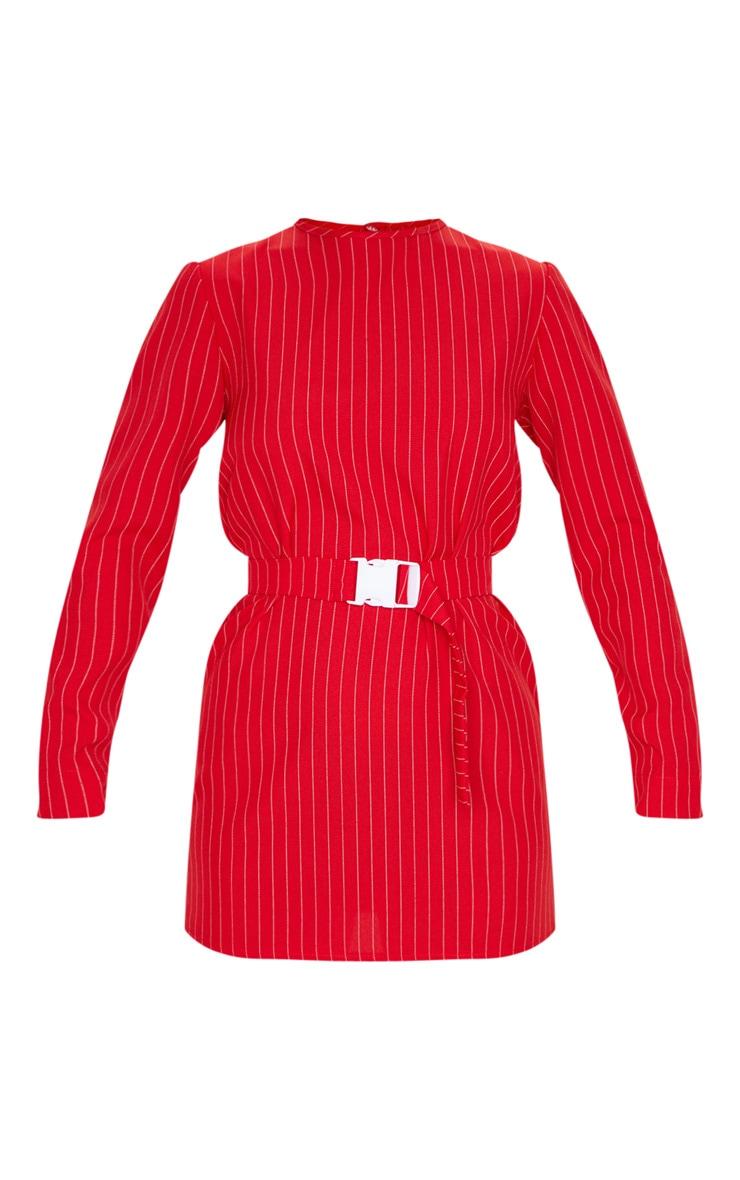 Red Long Sleeve Pinstripe Belt T Shirt Dress 3