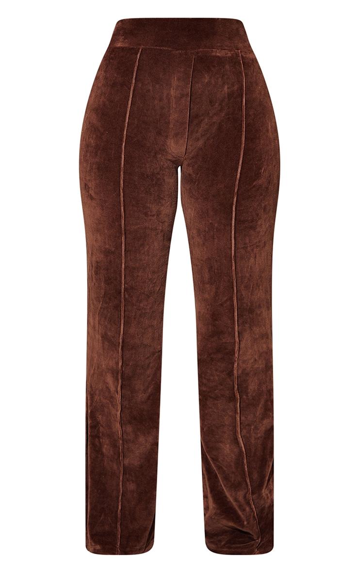 Petite Mocha Velour Seam Detail Wide Leg Sweat Pants 5