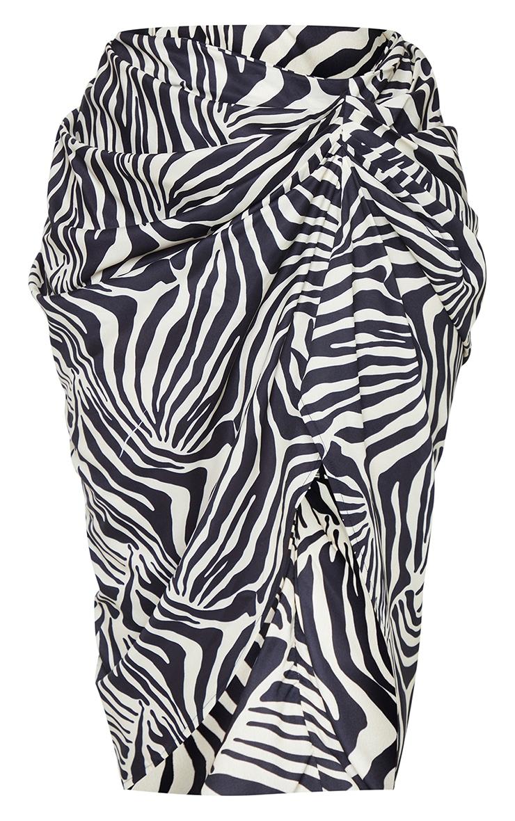 Plus Monochrome Zebra Print Ruched Side Midi Skirt 5