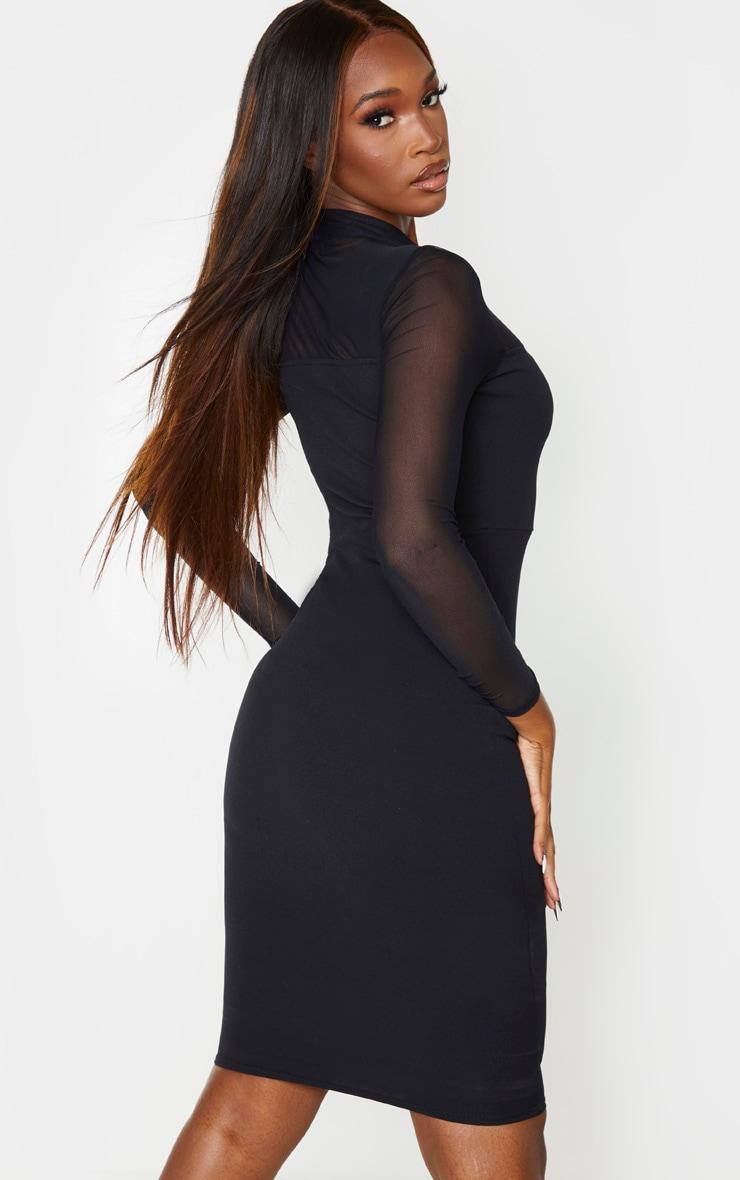 Black Mesh Square Insert High Neck Midi Dress 2