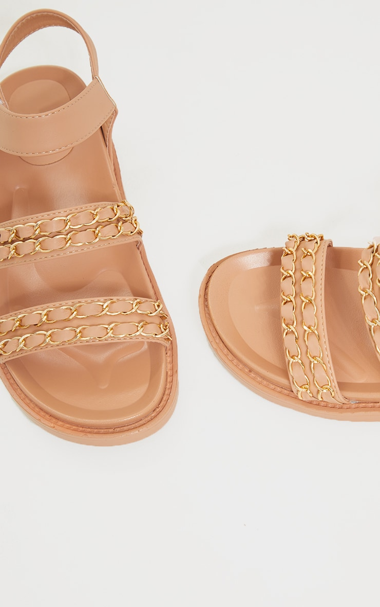 Nude PU Footbed Double Strap Chain Detail Sandals 4