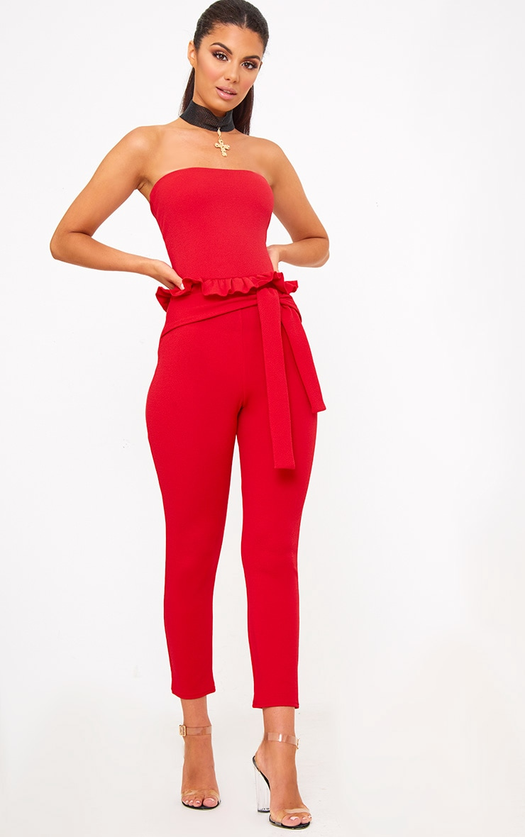 Red Frill Tie Waist Jumpsuit 1