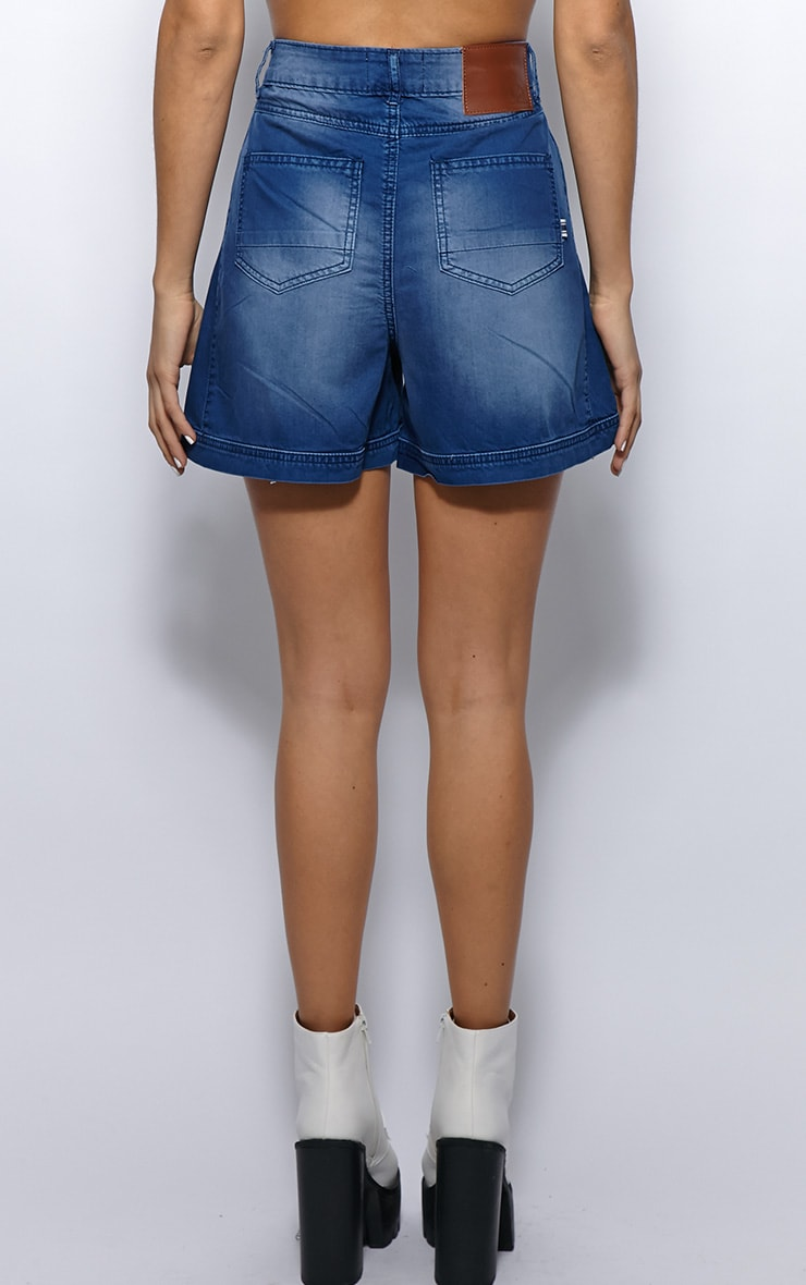 Paula Blue Denim High Waist Shorts  2